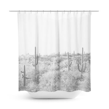Desert Landscape 5 Black and White Shower Curtain