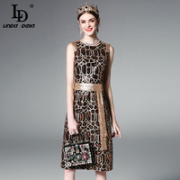 High Quality 2017 Summer Runway Dress Women's Sleeveless Vest Vintage Sexy Leopard Noble Sequined Dress