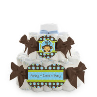 Baby Shower Square Diaper Cakes - 2 Tier - Monkey Boy