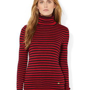 Lauren Ralph Lauren Petite Metallic Striped Turtleneck Sweater