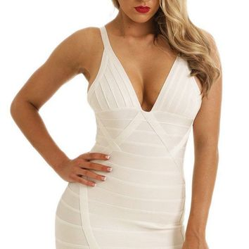 Come & Get It Sleeveless V Neck Tulip Hem Sexy Mini Bodycon Bandage Dress - 3 Colors Available Inspired by Candace Swanepoel