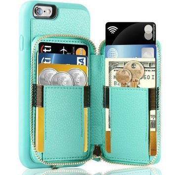 Iphone 6 Plus Wallet Case Iphone 6 Plus Card Holder Case Zve Iphone 6 Plus Leather Cases With Credit Card Slot & Zipper Wallet Purse Protective Cover For Apple 6 Plus / Apple 6s Plus Blue