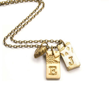 Personalized Letter Necklace - My Kid's initials. Best Friends Necklace. Initial Charm Necklace. Two Rectangle  Pendants. Shabby Chic