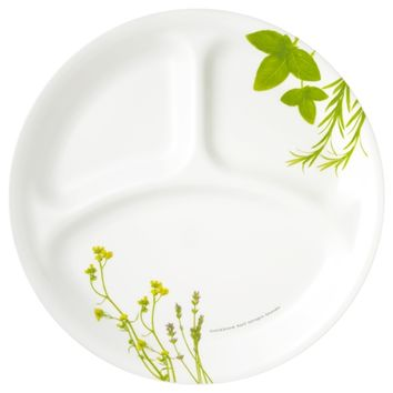 Corelle European Herbs Divided Plate - European Herbs - Delux Series - Round & Square - Corelle - World Kitchen UK