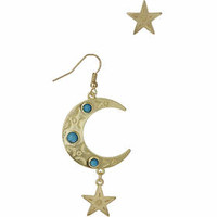 Matte Gold Star And Moon Earrings - Turquoise
