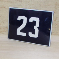 Vintage French Blue House Number, Door Number 23, Preservede French Enameled Sign Number 23, Street Sign Number 23, Blue Enamel Metal Plate