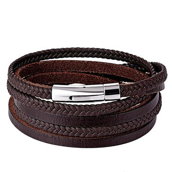 XiongHang Fashion Multilayer Genuine Leather Bracelet Men Jewelry Stainless Steel Bangle Wrap Braid Black Brown 3 Layer Bracelet