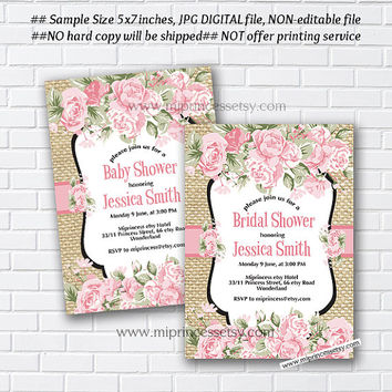 Baby Shower Invitation, Bridal shower, floral watercolor, flower, shabby chic,pink rose flowers - card 984