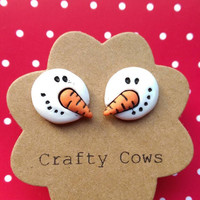 Snowmen earrings - carrot nosed christmas snowman stud earrings uk stocking filler secret santa