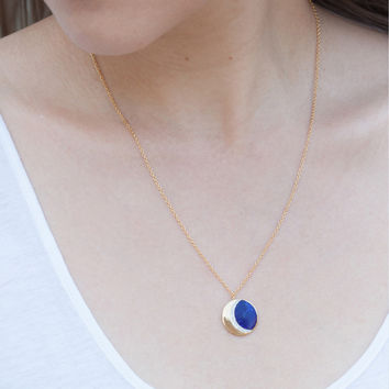 Lapis Moon Phase Necklace - Necklaces - Catbird