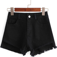 Black Pockets Fringed Denim Shorts
