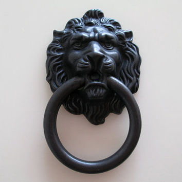 Black Lion Head Dresser Pull Knob / Drawer Pulls Knobs Handles Rings / Antique Bronze Gold Door Knocker Cabinet Handles Vintage Hardware