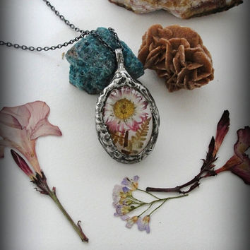 Pendant, glass medallion, real dried daisy flower, terrarium Necklace, love necklace, gift for her