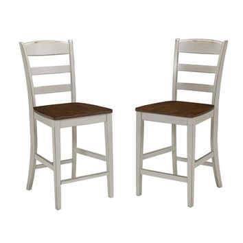 Home Styles Furniture 5020-89 Monarch Antique White Sanded Distressed Stool