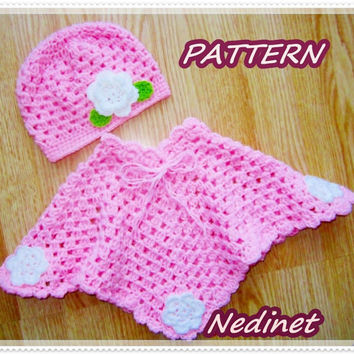 Crochet hats and poncho set PATTERN 6-12 monts, 12-24 months 24-36 months