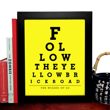 The Wizard Of Oz, Follow The Yellow Brick Road, Eye Chart 8 x 10 Giclee Art Print, Buy 3 Get 1 Free