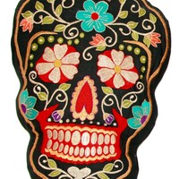 Day Of The Dead Sugar Skull Embroidered Pillow Dia De Los Muertos - 10x16 Inches (Metallic Black & Red)