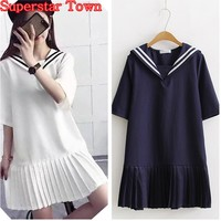 Summer Dresses Linen Patchwork Pleated Dress Mori Girl Japan Casual Sailor Collar Lolita Dress Harajuku Vestidos