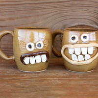 Funny Coffee Mugs. His and Hers Coffee Cup Set. Caramel Drizzle. Hot Chocolate Beer Soup Mugs. Adventurous Couple Face Mugs.