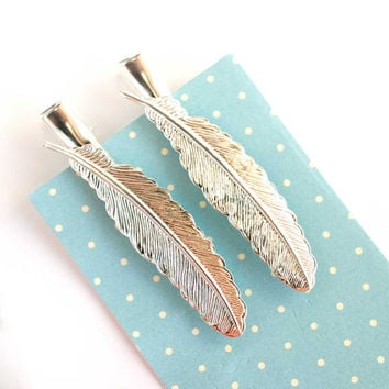 silver feather bobby pin set feather barrette hair pin bridesmaid gifts woodland wedding