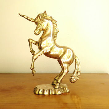 Vintage Brass Unicorn Figurine, Mid Century, Gold Animal Statue, Solid Brass, Horse