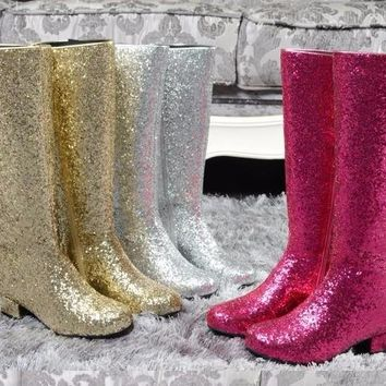 2017 newest glitter knee high boots round toe thick heels woman boots big size riding boots silver gold rose red