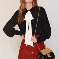 Nasty Gal Mademoiselle Pussy Bow Blouse - Black