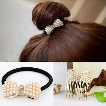 YouMap Cute Bowknot Elastic Hair Bands For Women Scrunchy Leather headbands For Hair Jewelry