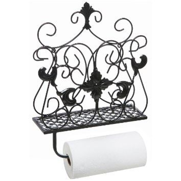 Antique Style Scrollwork Design Metal Wall Mounted Paper Towel & Toilet Paper Holder / Magazine Rack