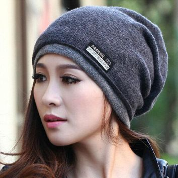 Cruoxibb High Quality  Warm Wool Hat Knitted Beanies Hat Infinity Scarf Winter Skullies Caps For Woman And Men