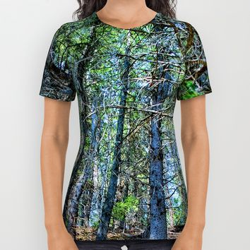 Trail in the forest All Over Print Shirt by Claude Gariepy