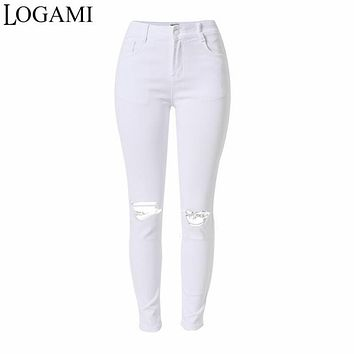 White Jeans Women Pencil Pants Ladies High Waist Denim Ripped Skinny Jeans For Women Slim Jeans Trou Genou Pantalon Femme