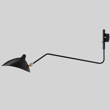 Fashion Creative Modern Wall Lamp Serge Mouille 1 Head 2 Arms Rotating Sconce Wall Lamp Loft Retro Black/White Iron Shade