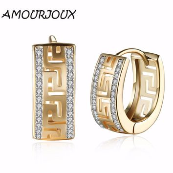 AMOURJOUX Zircon Gold Color Hollow Great Wall Pattern Clip Earrings For Women Ear Cuff Clips On Earring Female