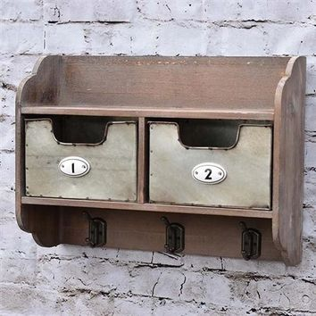 Industrial Double Drawer Wall Organizer with Hooks