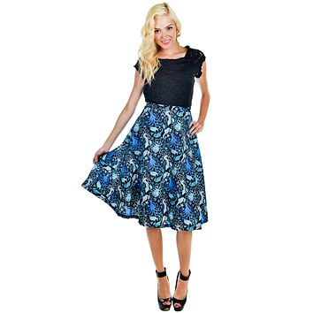 Sea punk Blue Octopus and Sea Creatures Skirt