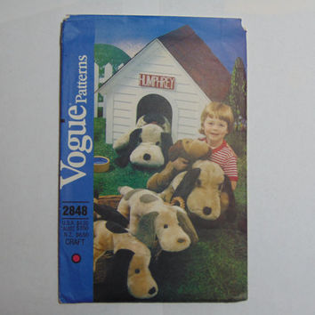 Vogue Sewing Pattern 2848 Plush Puppy Floor Pillow Stuffed Dogs three sizes child's toy