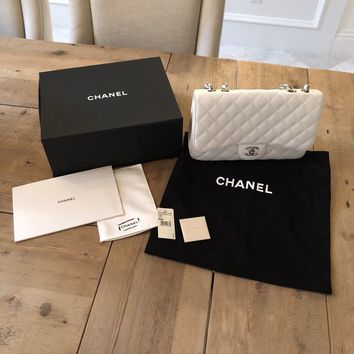 Authentic Chanel Classic Jumbo White Caviar Leather Single Flap Bag