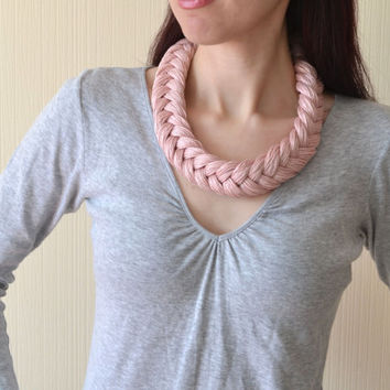 Pink Fabric Necklace,linen textile necklace,statement necklace,chunky necklace,fiber necklace,Bohemian Necklace,knot necklace,gift for her