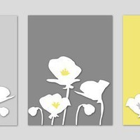 Poppies Yellow and Gray Silhouette Series  Set of by karimachal