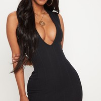 Shape Black Bandage Plunge Bodycon Dress