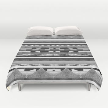 DG Aztec No.2 Monotone Duvet Cover by Dawn Gardner