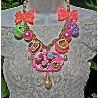 Hello Kitty Time For A Tea Party Necklace-Cherry Doll House Of Couture Collection