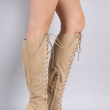 Suede Corset Lace-Up Chunky Heeled Boots