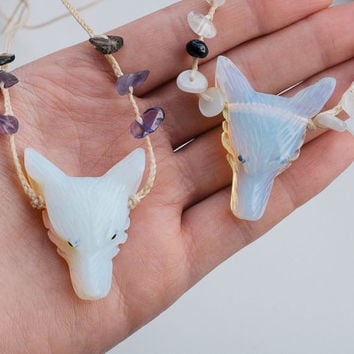 Opalite, smoky quartz and amethyst wolf head necklace | Opalite, moonstone and garnet wolf head necklace | crystal healing | large wolf head