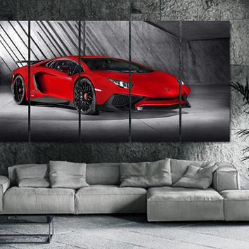 Lamborghini Car Canvas Print -  Framed Extra Large Motor Wall Art - Gray Color Dark Poster - Hand Made in Europe for Home and Office_LC065