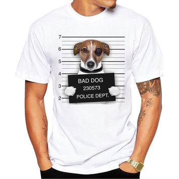 Jack Russell Terrier Bad Dog Police Dept Mugshot Men's Short Sleeve Casual White T-Shirt
