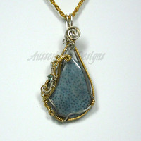 Wire Wrapped Natural Blue Coral Pendant