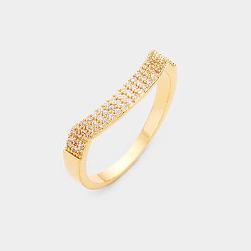 Gold Plated 3rows Cz Pave Ring