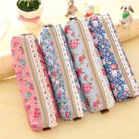 Canvas Flower Floral Pencil Pen Case Cosmetic Makeup Bag Storage Purse